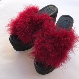 Topshop Feather Boa Platform Heels